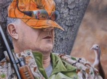 Nature Painting of a hunter and wild turkey by Judy Schrader
