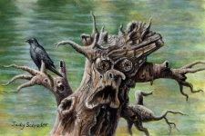 Miniature Painting of a spooky tree and a crow by Judy Schrader