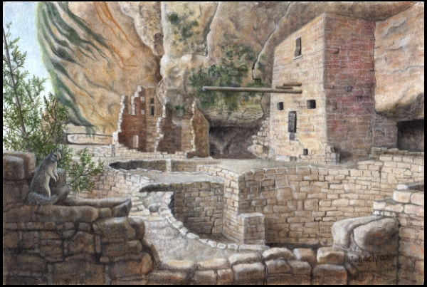 Original Miniature Painting of the Balcony House of Mesa Verde by Judy Schrader