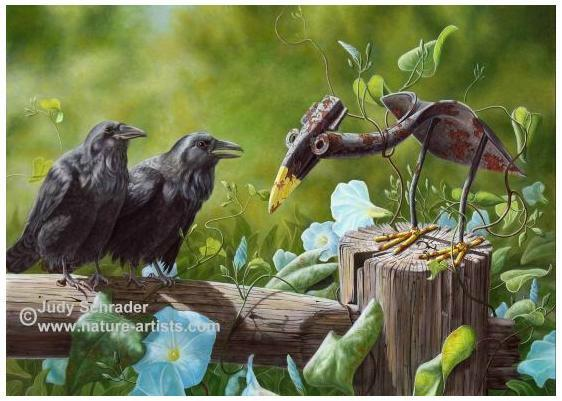 Original painting of a shovel crow and raven by Judy Schrader